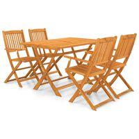 vidaXL Set comedor de jardín plegable 5 piezas madera maciza de acacia