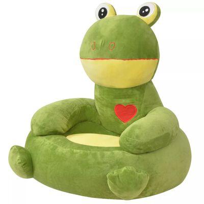 vidaXL Silla de peluche para niños rana verde