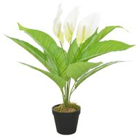 vidaXL Planta artificial Anthurium con macetero 55 cm blanca