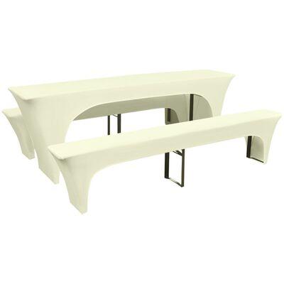 vidaXL Fundas elásticas para mesa y bancos de exterior crema 3 uds