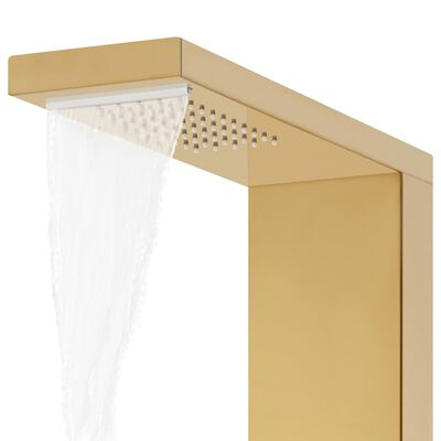 vidaXL Sistema de panel de ducha acero inoxidable 201 dorado
