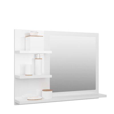 vidaXL Espejo de baño aglomerado blanco brillante 60x10,5x45 cm