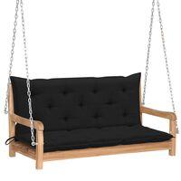 vidaXL Banco columpio madera maciza de teca con cojín negro 120 cm