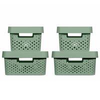 Curver Cajas de almacenaje con tapa Infinity 4 piezas verde 4,5L+11L