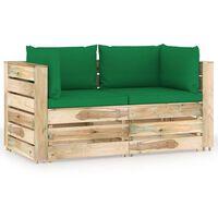 vidaXL Sofá de jardín de 2 plazas con cojines madera impregnada verde