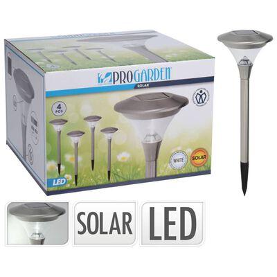 ProGarden Lámparas solares LED de jardín 4 uds acero inoxidable 14 cm