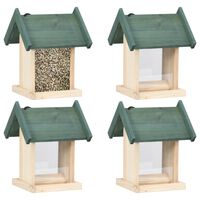 vidaXL Comederos para pájaros 4 unidades madera de abeto