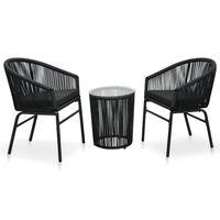 vidaXL Set muebles de jardín 3 piezas con cojines ratán de PVC negro