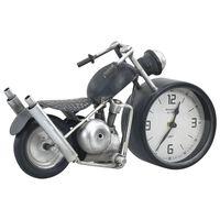 vidaXL Reloj de mesa gris antracita hierro y MDF 32x10,5x18 cm