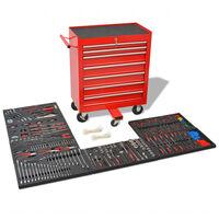 vidaXL Carrito de herramientas 1125 herramientas acero rojo