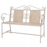 vidaXL Banco de jardín 115 cm acero blanco vintage