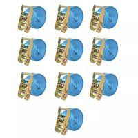 vidaXL Correas de sujeción de trinquete 10 uds 2T 6mx38mm azul