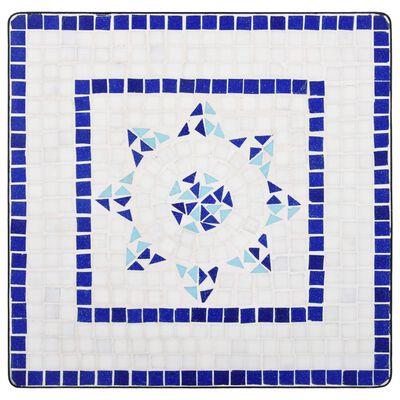 vidaXL Mesa de mosaico para cafetería cerámica azul y blanco 60 cm