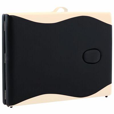 vidaXL Camilla de masaje plegable 2 zonas aluminio negro y beige