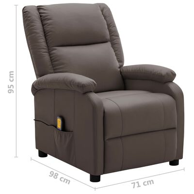 vidaXL Sillón de masaje reclinable cuero sintético marrón