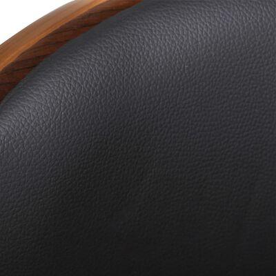 vidaXL Taburete de barra de cocina madera curvada y cuero sintético