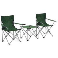 vidaXL Juego de mesa y sillas de camping 3 piezas verde
