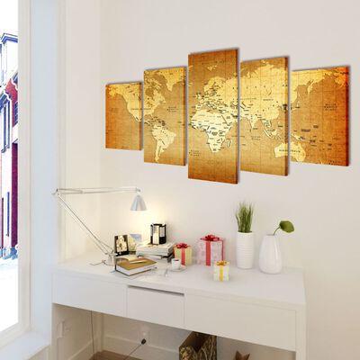 Set decorativo de lienzos para la pared modelo mapamundi, 100 x 50 cm