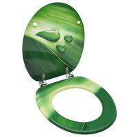 vidaXL Asiento de inodoro con tapa MDF verde diseño gota de agua