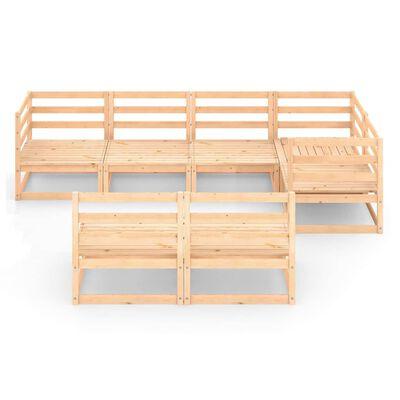 vidaXL Juego de salón de jardín 7 piezas madera maciza de pino