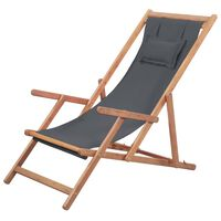 vidaXL Silla de playa plegable de tela y estructura de madera gris