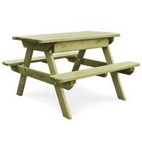 vidaXL Mesa de picnic con bancos madera pino impregnada 90x90x58cm