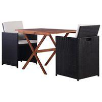 vidaXL Mesa y sillas de jardín 3 pzas poli ratán y madera acacia negro