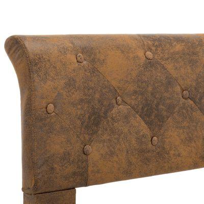 vidaXL Estructura de cama de piel de ante artificial marrón 140x200 cm