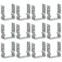 vidaXL Anclajes de valla 12 uds acero galvanizado plateado 12x6x15 cm