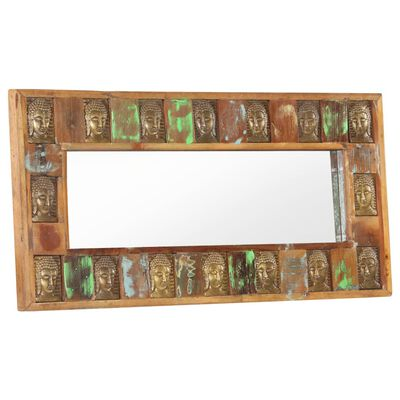 vidaXL Espejo con enchapado de Buda madera maciza reciclada 110x50 cm