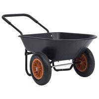 vidaXL Carretilla negra y naranja 78 L 100 kg