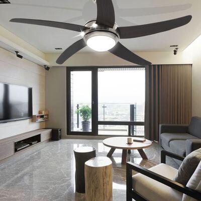 vidaXL Ventilador de techo adornado con lámpara 128 cm marrón