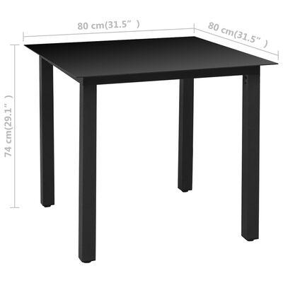 vidaXL Juego de comedor para jardín 5 piezas negro