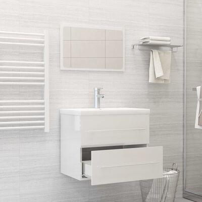 vidaXL Conjunto de muebles de baño 2 pzas aglomerado blanco brillante
