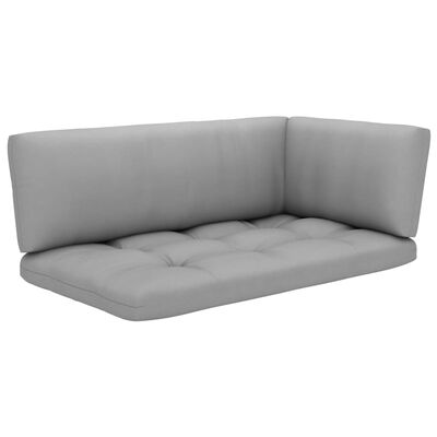vidaXL Muebles de palets 4 pzas y cojines madera pino impregnada gris