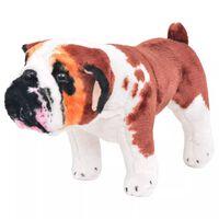 vidaXL Perro bulldog de peluche de pie blanco y marrón XXL