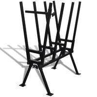 Soporte plegable negro galvanizado con sierras para carpintería