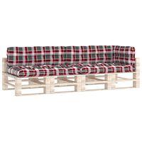 vidaXL Cojines para sofá de palets 5 piezas estampado a cuadros rojos