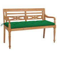 vidaXL Banco Batavia madera maciza de teca con cojín verde 150 cm