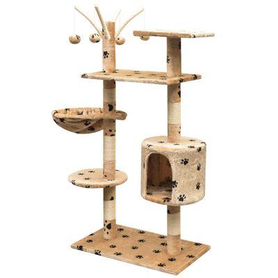 vidaXL Rascador para gatos poste rascador de sisal 125cm huellas beige