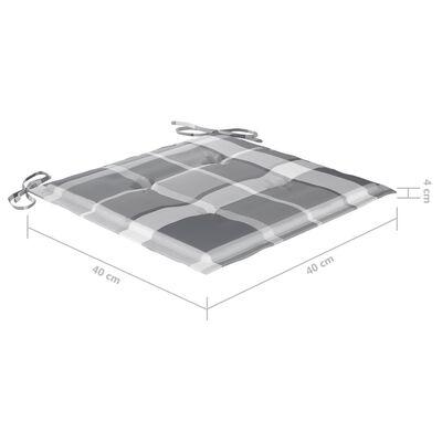 vidaXL Sillas de comedor 8 uds teca maciza y cojines a cuadros grises