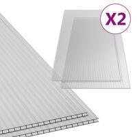 vidaXL Paneles de policarbonato 2 unidades 6 mm 150x65 cm