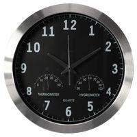 Perel Reloj de pared negro y plateado 35,5 cm