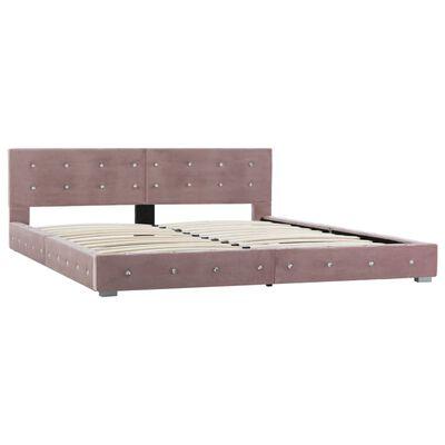 vidaXL Estructura de cama de terciopelo rosa 180x200 cm