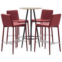 vidaXL Set mesa alta y taburetes bar 5 pzas cuero sintético rojo tinto
