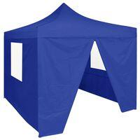 vidaXL Carpa plegable profesional con 4 paredes acero azul 2x2 m