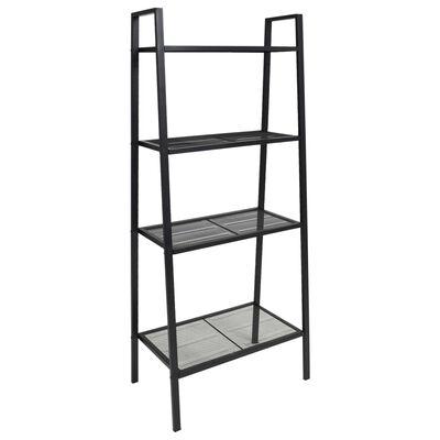vidaXL Estantería escalera 4 niveles metal negro