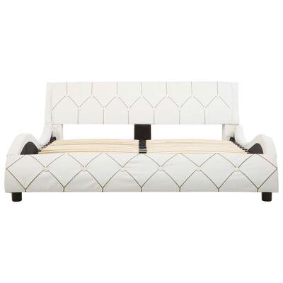 vidaXL Estructura de cama de cuero sintético blanco 140x200 cm