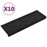 vidaXL Alfombrillas de escalera 10 unidades negro 65x25 cm