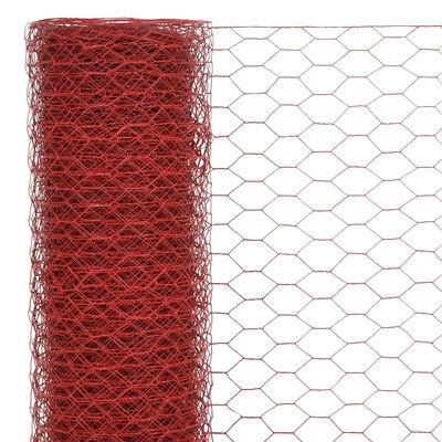 vidaXL Alambrada de gallinero acero revestimiento PVC rojo 25x1,2 m